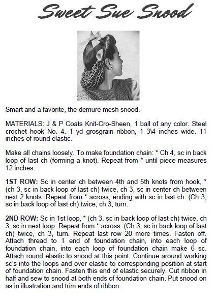 sweet sue vintage 1940s snood pattern free