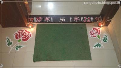 Creative Red Rose Rangolis