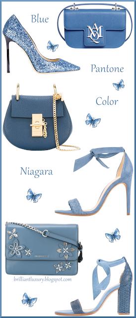 Shoes & bags in blue Pantone Color Niagara #brilliantluxury