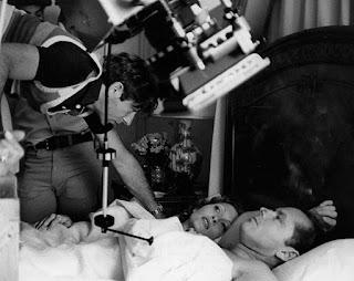 Roman Polanski, Jack Nicholson y Faye Dunaway filmando una escena de Chinatown