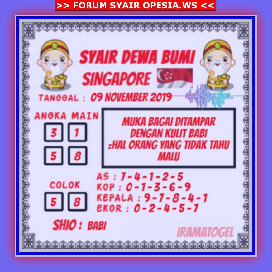 Kode syair Singapore Sabtu 9 November 2019 102