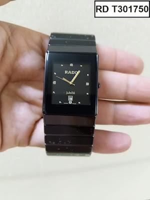 Đồng hồ nam mặt chữ nhật dây đá ceramic đen RD T301750