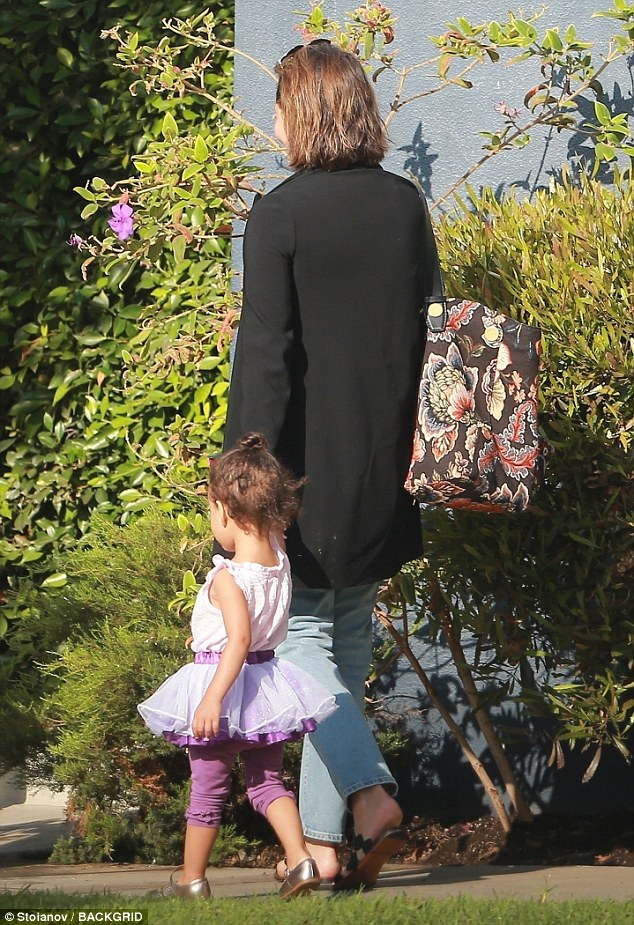 Chrissy Teigen pictured taking her daughter Luna to pre-school