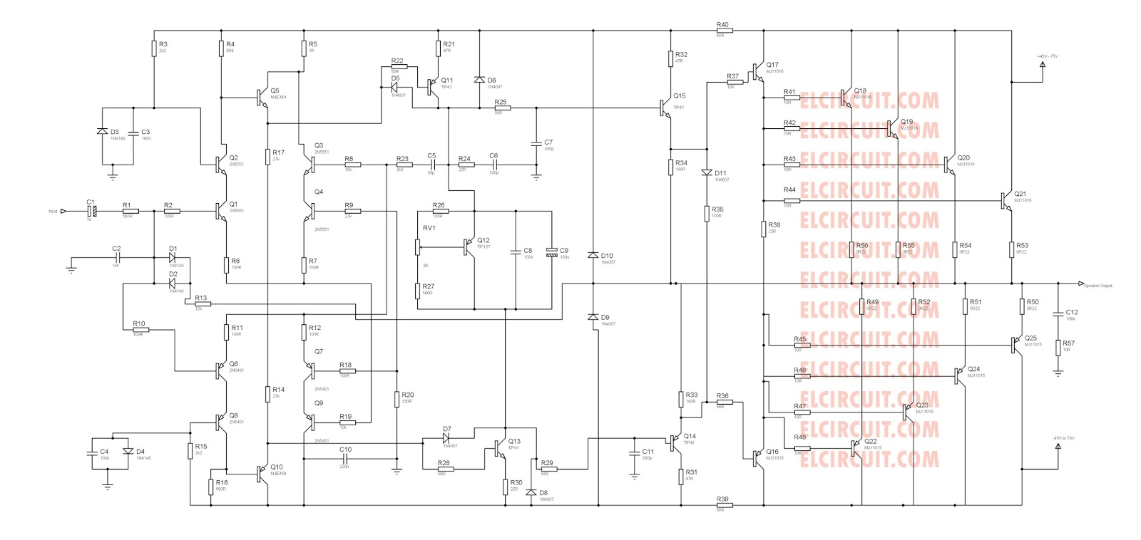 Amplifier Schematic Diagram Trusted Wiring Diagrams Tube Otl Headphone Circuit Amplifiercircuit 2800w High Power Updated Electronic Differential