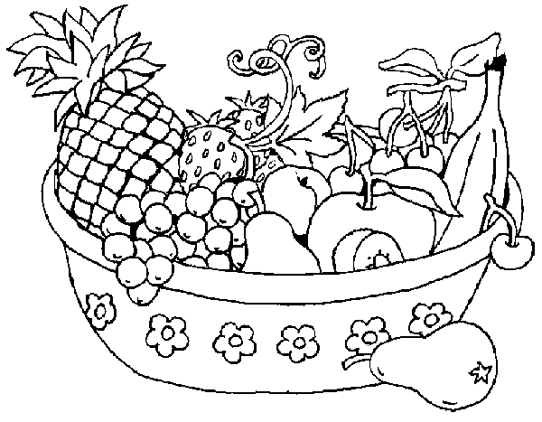 Free download fruits basket coloring page for kids for Fruit coloring pages for kids