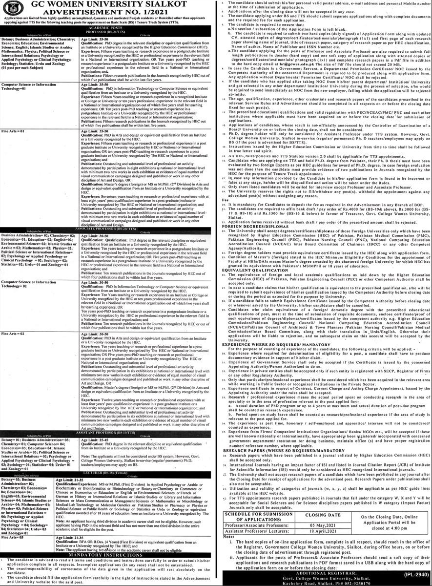 Latest GC University Sialkot Jobs 2021 - New GC University Sialkot Jobs 2021 - GC Women University Jobs 2021 - How to Apply For GC Women University Sialkot Jobs 2021