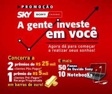 Cadastrar na Promoção Sky 2021 A Gente Investe em Você - Prêmios 25 Mil, Notebooks e Fones Ouvido