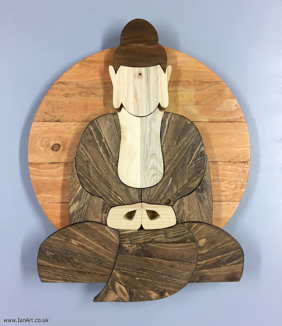 Buddha Wooden Wall Art made with Reclaimed Wood