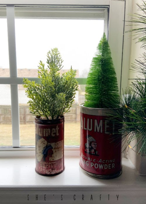 Vintage Christmas Decor Vignettes  |  see various ways to use vintage Christmas pieces in your home decor   |   kitchen, faux trees in vintage cans