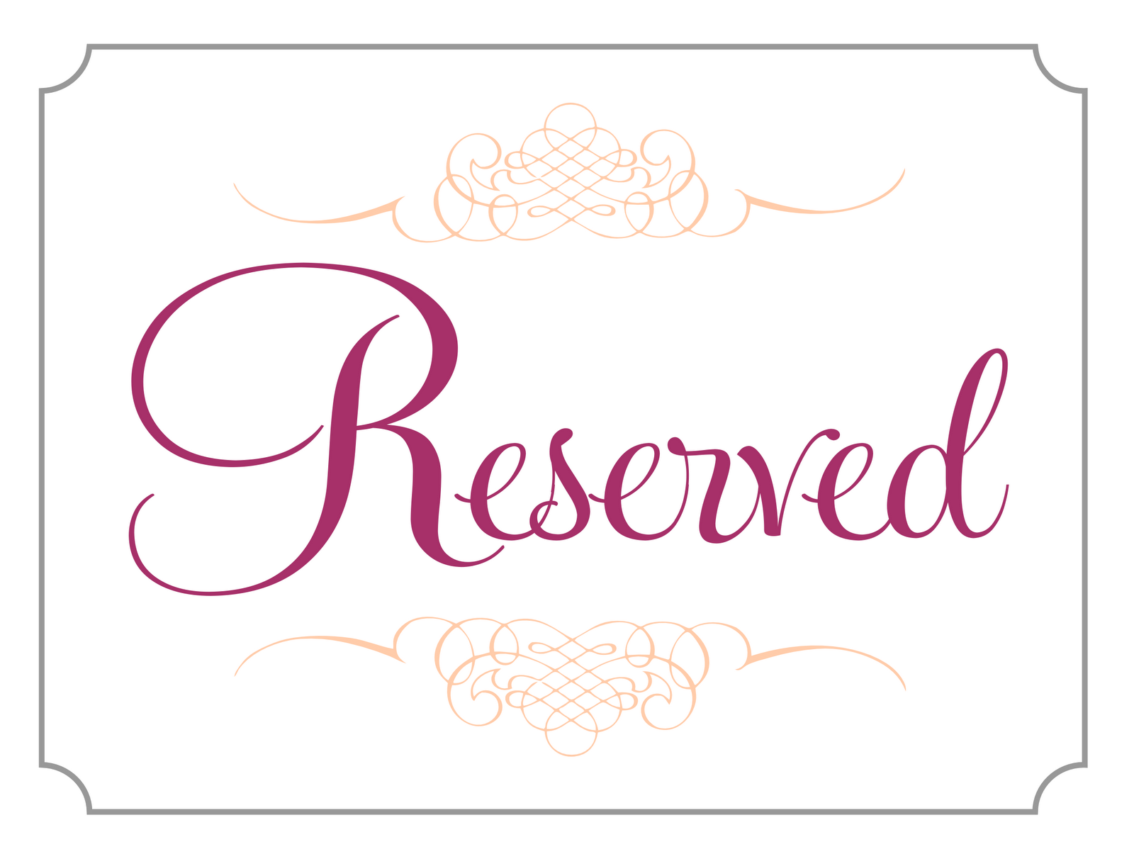 The gallery for reserved table signs template for Reserved seating signs template