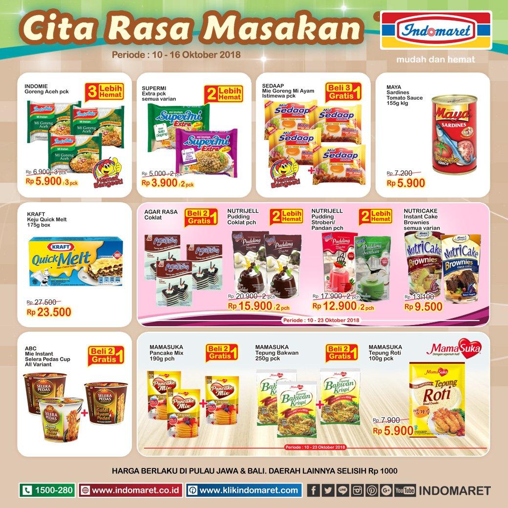 Indomaret - Promo Cita Rasa Masakan Periode 10 - 16 Oktober 2018