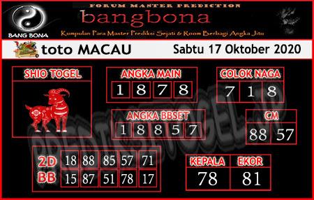 Prediksi Bangbona Toto Macau Sabtu 17 Oktober 2020
