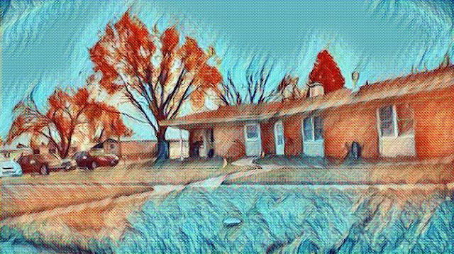 view from my back door, Apt 134, edited with van Gogh art filter