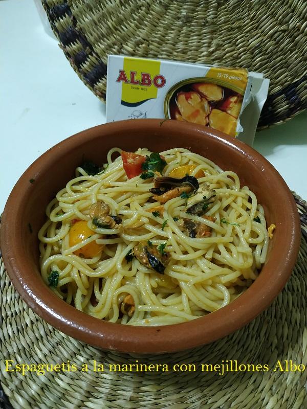 Espaguetis a la marinera con mejillones Albo