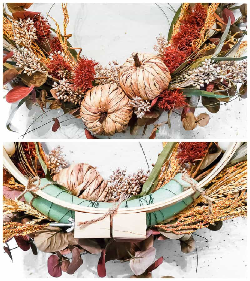 front and back of the DIY fall wreath swag
