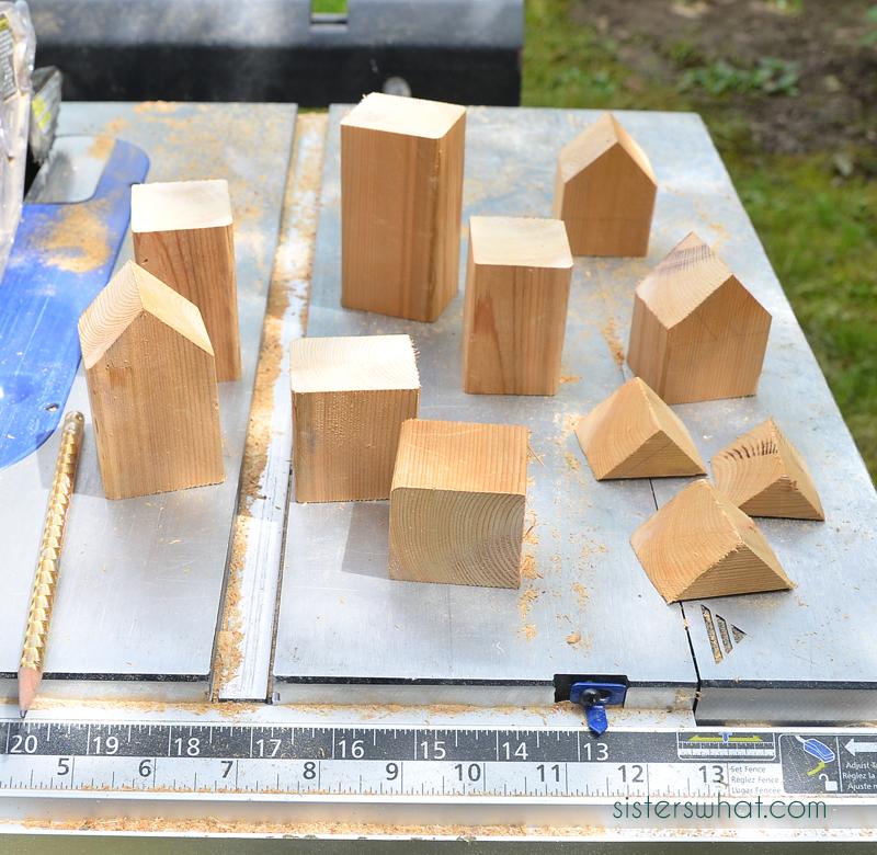 diy wood house stacking blocks