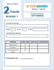 Examen del Bloque I Segundo grado  2018-2019