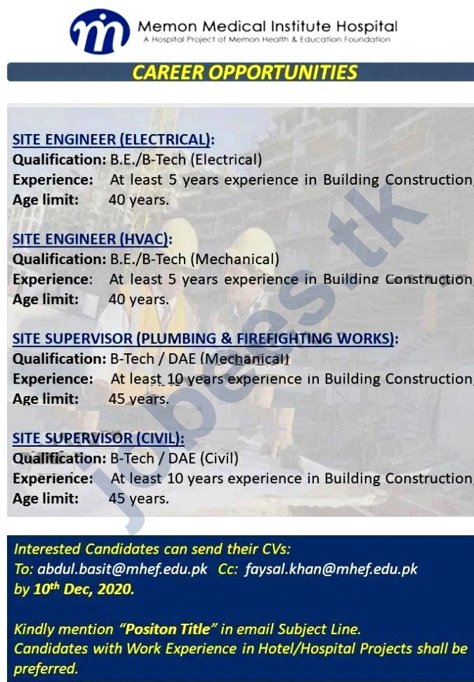 Memon Medical Institute Hospital Jobs