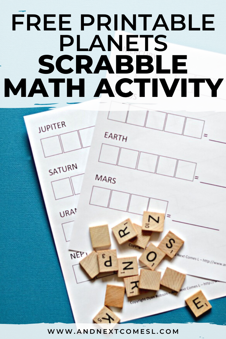 Free printable planets Scrabble math worksheet activity for kids