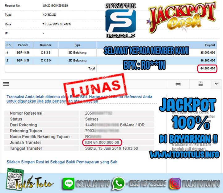 JACKPOT TOGEL 15 JUNI 2019 SINGAPORE POOLS TULISTOTO MEMBER JP TOGEL 100% LANGSUNG DI BAYARKAN !!