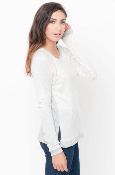 Shop for Light grey Color Block Two Tone Pullover Crew Neck @34$ On Caralase.com
