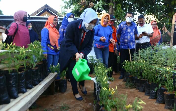 Fatmawati Rusdi berkunjung di Kebun milik salah satu di Makassar.