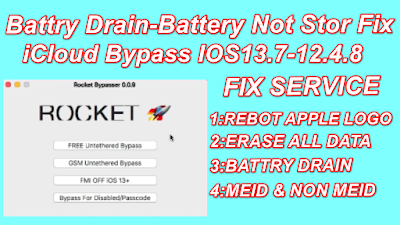 Free Battry Drain-Battery Not Stor Fix Untethered iCloud Bypass iOS13.7,13.6.1,13.6-iOS12.4.8 For Mac