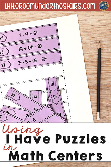 Math Centers - I Have Math Sequencing Puzzles; shows partially completed I Have puzzle