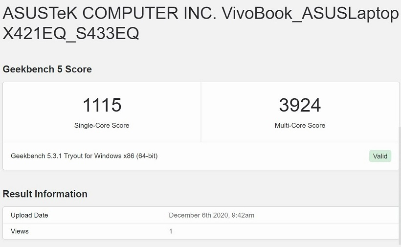 ASUS VivoBook S14 S433 Review - Geekbench