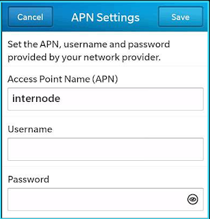 New InterNode apn settings blackberry