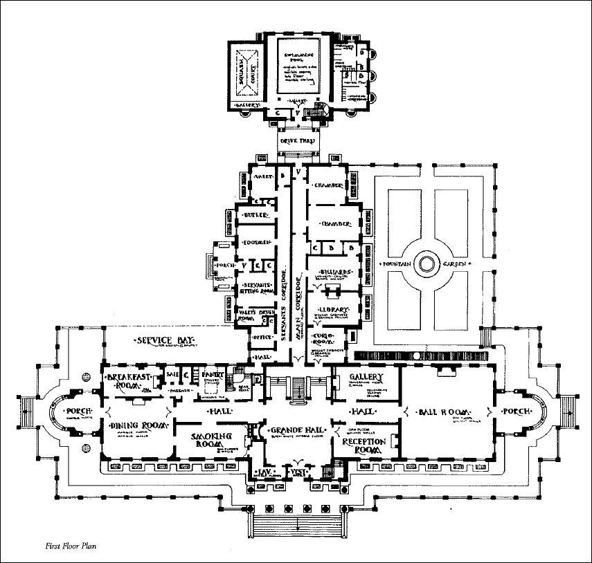 Mansion Floor Plans: Lynnewood Hall, Philadelphia