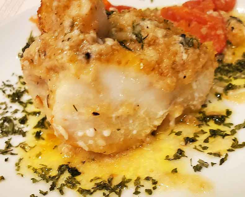 Chilean Sea Bass baked with butter and dill