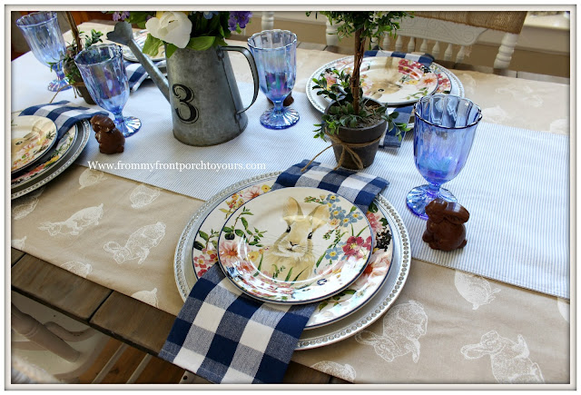 Spring-Easter-Tablescape-Cottage-Farmhouse-buffalo CHeck-Pottery Barn-Flora-Dinnerware-Blue-White-Bunny Tablecloth-From My Front Porch To Yours