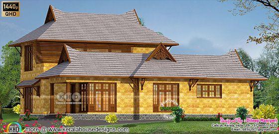4 BHK traditional Kerala house rendering