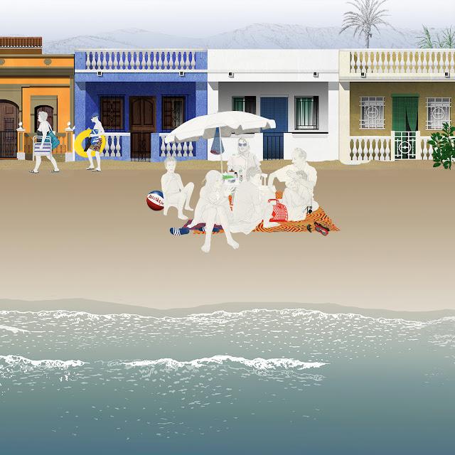 dibujo, playa, casitas playa, familia