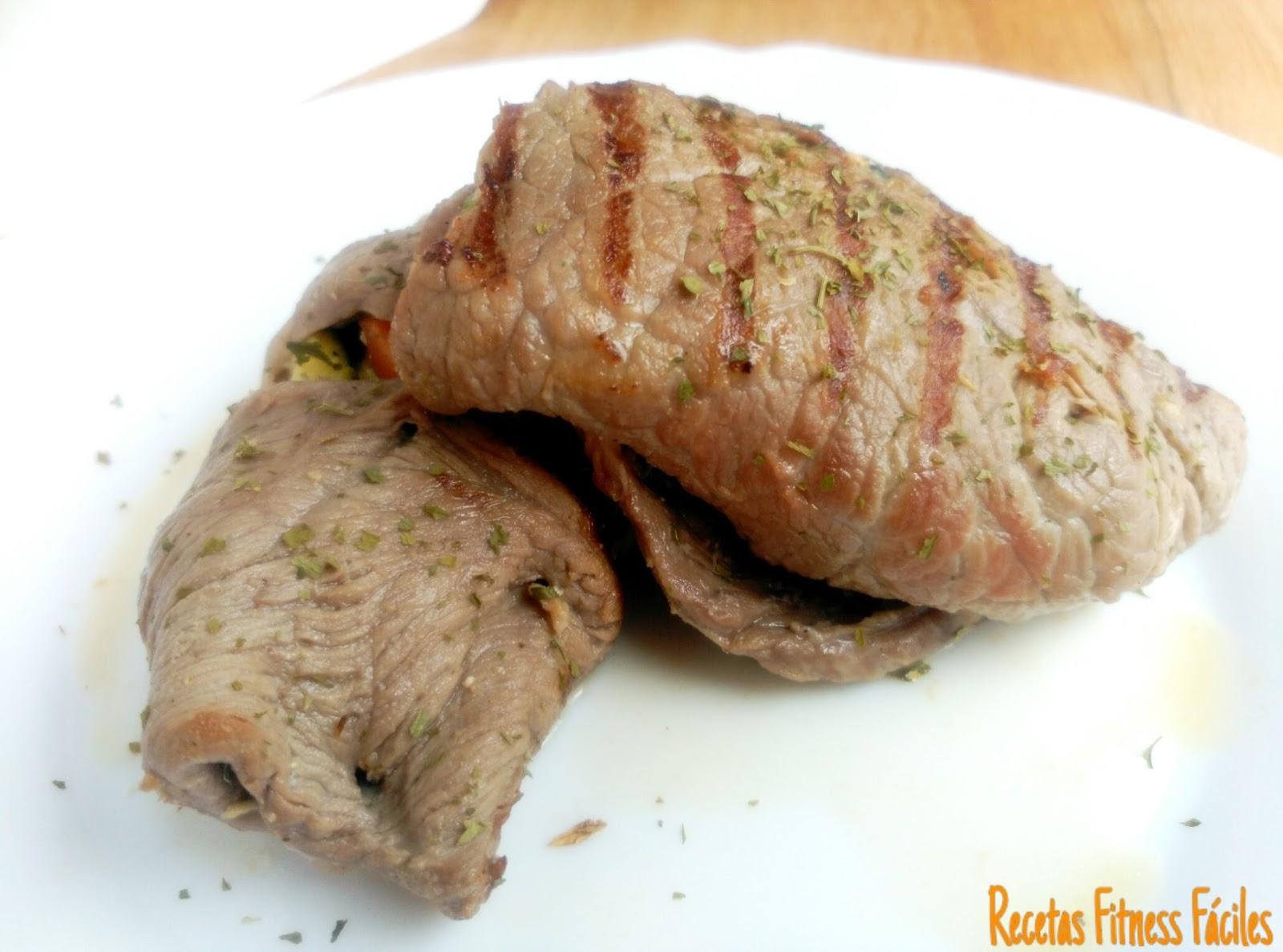 Filetes de ternera rellenos de verduras al horno Recetas Fitness