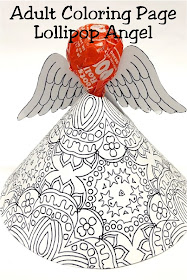 Print out this Adult Coloring page printable and make a fun Christmas angel for your Christmas party.  This Printable angel craft comes together in moments and holds a yummy Tootsie Roll sucker for a sweet Christmas treat. #adultcoloringpage #lollipopangel #christmasangel #candytreat #diypartymomblog