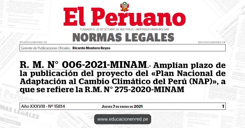 R. M. N° 006-2021-MINAM.- Amplían plazo de la publicación del proyecto del «Plan Nacional de Adaptación al Cambio Climático del Perú (NAP)», a que se refiere la R.M. N° 275-2020-MINAM