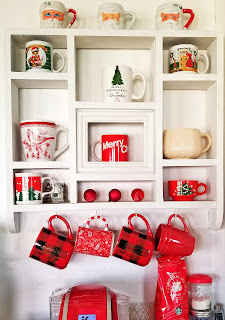 thrift store find turned coffee mug station, christmas decor via refabulous