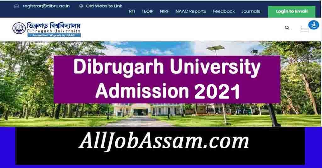 Dibrugarh University B Pharm Admission 2021
