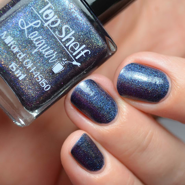 navy holographic nail polish