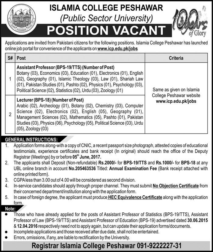 Bps-18 Bps 19 Jobs In Islamia College Peshawar 19 May 2017