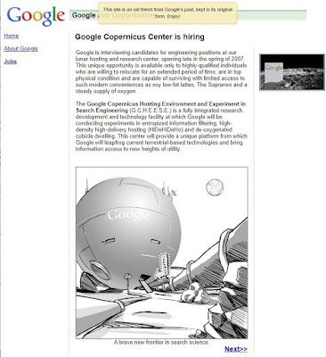 Poisson d'Avril de Google 2004: Copernicus