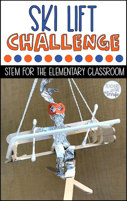 STEM Challenge: Students build a ski lift chair holding a skier. This challenging task will be tested on a line to see if the skier can remain on the lift! Teachers Are Terrific
