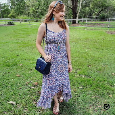 awayfromtheblue Instagram | birthday party outfit Jeanswest Sophia high low mandala print ruffle maxi dress with sandals, jeanswest sophia high-low mandala print ruffle maxi dress with mandala print maxi dress, Rebecca Minkoff Love Too in deep teal croc embossed leather