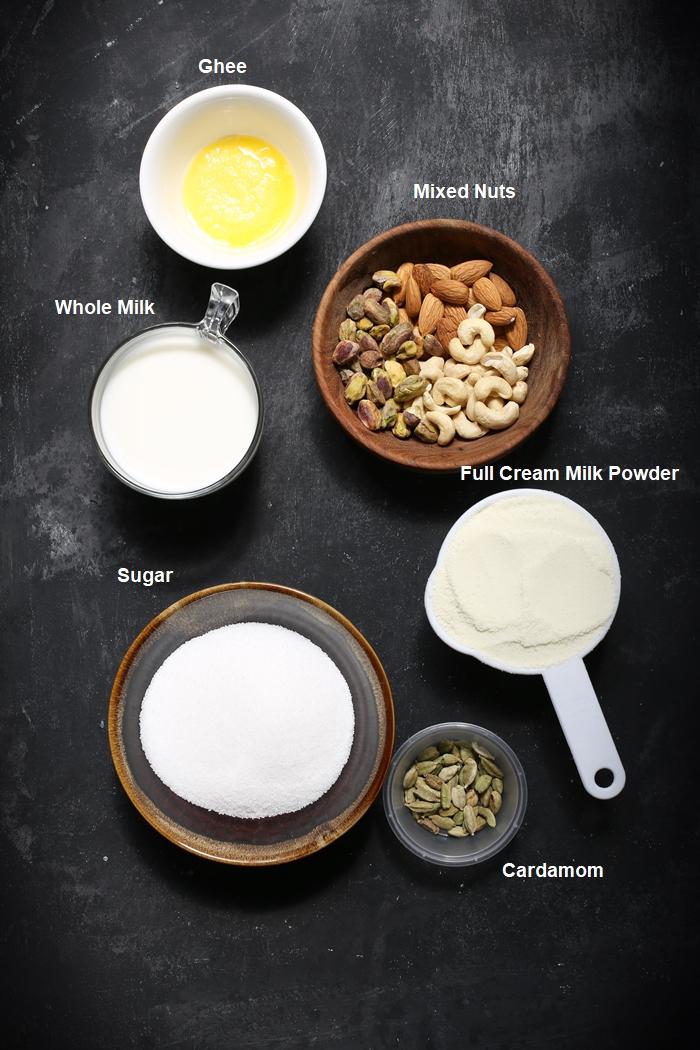 ingredients of milk powder barfi