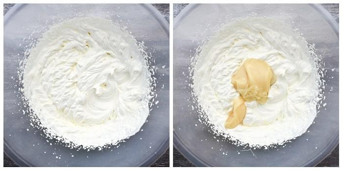 Making Raspberry Ripple Ice Cream - Step 2 - whisked cream with condensed milk added