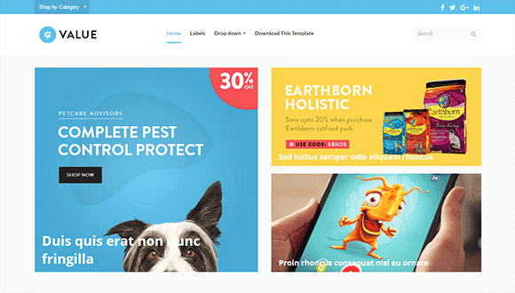 Value Blogger Template for Online Shopping Store