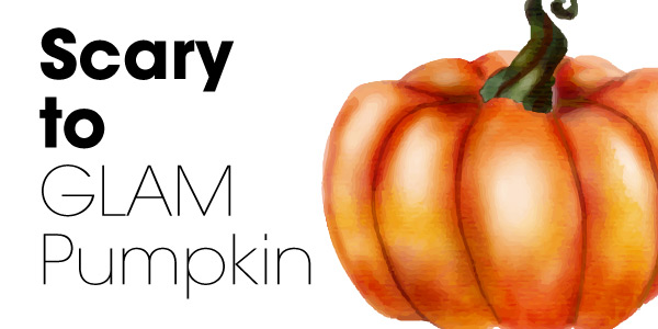 Scary to Glammed Pumpkin DIY project header with an image of an orange watercolor pumpkin.