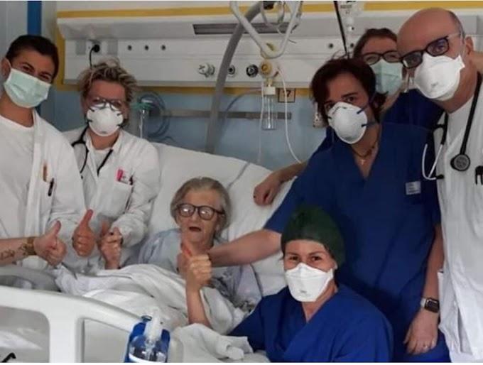 Pasien Covid-19 Tertua di Italia Melakukan Aksi Dukung Tim Medis Setelah Dinyatakan Sembuh